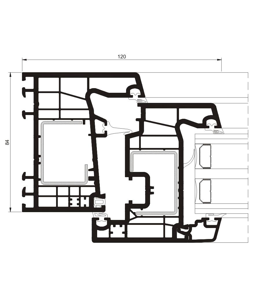 Sección del sistema A 84 Abisagrada - PVC