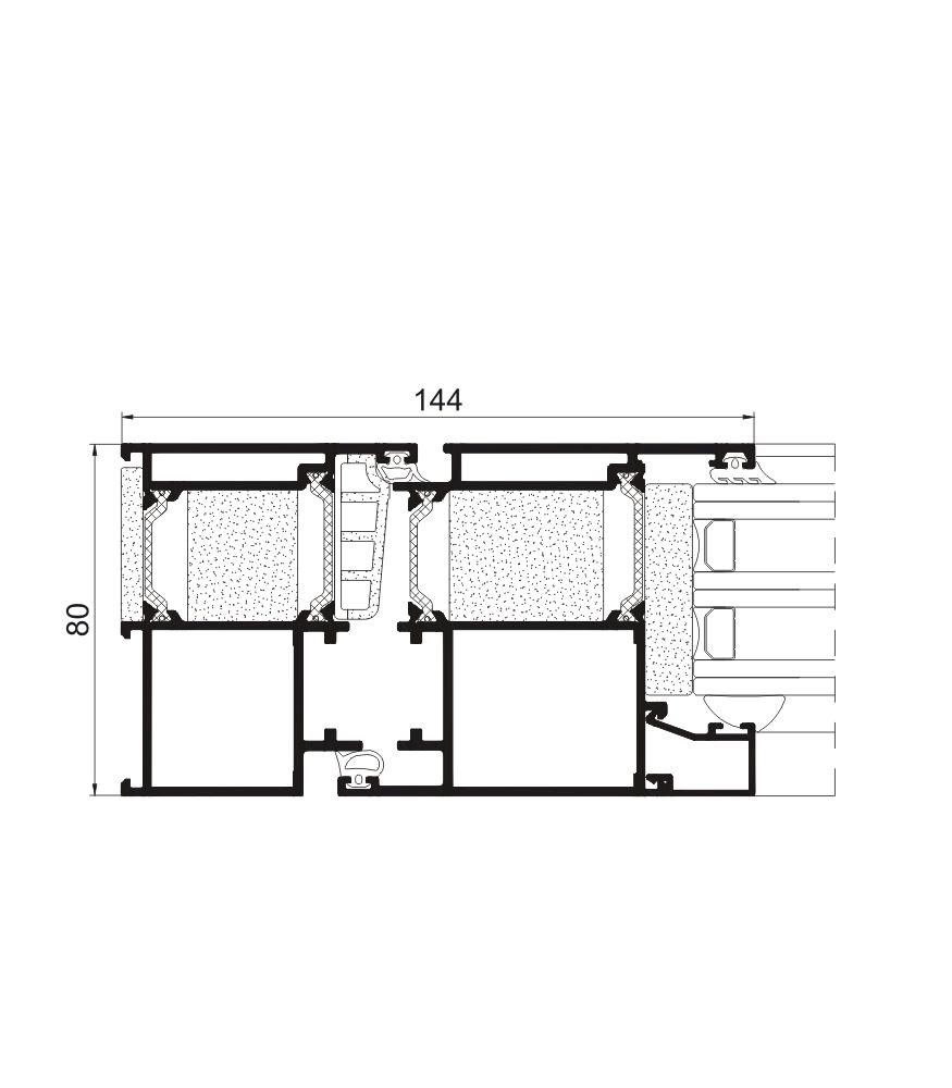 Sección del sistema Puerta Millennium Plus 80 RPT