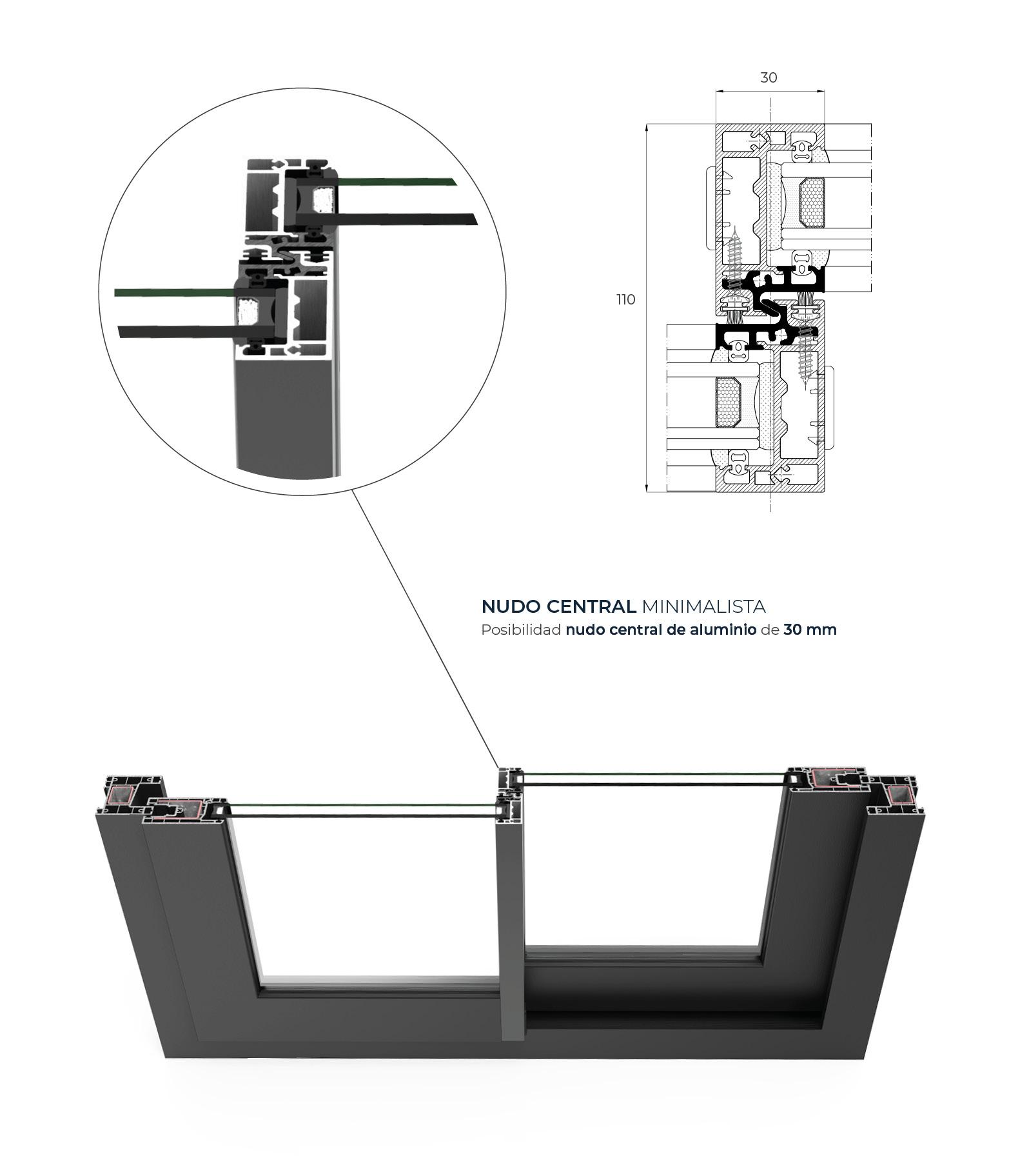 Sección del sistema C 70 Corredera - PVC